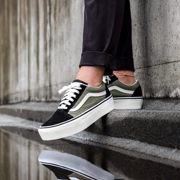 Vans Green + Black Old Skool Platform Sneakers